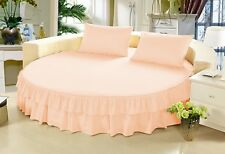 800TC Egyptian Cotton Solid Ruffle Round 3 Piece Bed Skirt with 15 Inch Drop