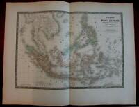 Malaysia Borneo Philippines Sumatra c.1870 large Brue Levasseur map