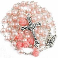 Catholic Pink Pearl Beads Rosary Necklace Our Rose Lourdes Medal Cross Crucifix