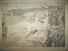 NATATION TRAVERSéE DE LA SEINE AGRESSION Pdt FALLIERES LE PETIT PARISIEN 1909