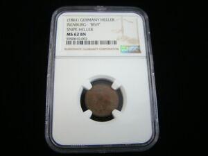 "Germany 1861 Snipe Heller Isenburg ""BFzY"" NGC Graded MS62 BN #5950610-002"