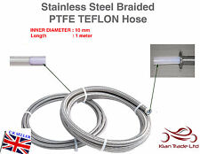10MM x 1METER STAINLESS STEEL BRAIDED PTFE TEFLON FUEL HOSE LINE OIL PETROL HOSE