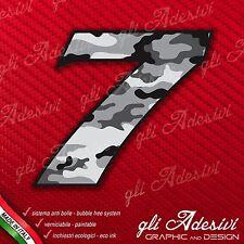Adesivo Stickers NUMERO 7 moto auto cross gara Camo URBAN 5 cm