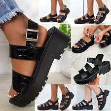 Womens Chunky Sandals Thick Sole Strappy Block Flatforms Shoes Summer New Size