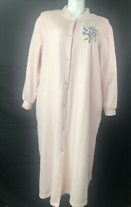 National Plus 3X Pink Snap Front Fleece Hummingbird Embroidered Long Robe