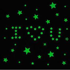 100* Etoile vert lumineuse sur mur dans noir Décoration Chambre de bébé