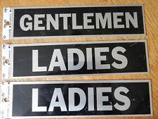 3 adhesive aluminum restroom signs (2 Ladies, 1 Gentlemen), 8 inches, new