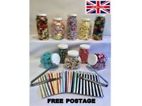 10 Mixed White Plastic Sweet Jars 2 Tongs 100 Bags Sweet Candy Buffet Party