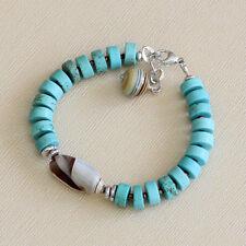 U&C Sundance Blue Green Turquoise & Natural Shell .925 Sterling Silver Bracelet