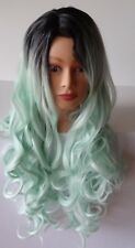 Costume Cosplay Wig Long Curly Wavy Two Tone Mint Green Ombre Dark Root Wigs