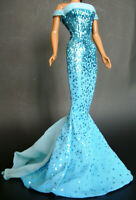 MATTEL BARBIE BIRTHSTONE TURQUOISE GLITTER DECEMBER BLUE FITTED DRESS GOWN