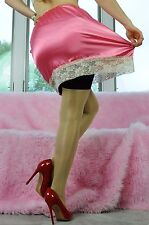 VTG Style Hand made CORAL Mini SHINY LACY SATIN 2 Tone Half Slip Skirt  OS L 18""