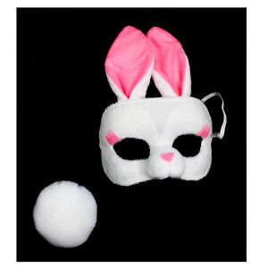 White Rabbit Bunny Ears Mask Tail Kit Cute Animal Costume Accessory Child Adult