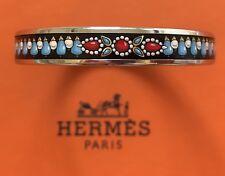 Hermes $430 Printed Enamel Bangle Bracelet Narrow PM Silver