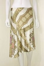 Roberto Cavalli Ivory Gold Metallic Silk Taj Asymmetric Flounce Skirt Size M EUC