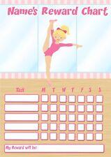 Personalizzato riutilizzabile ricompensa grafico con Penna-RCN08 Capelli Scuri Ballerina Ginnastica