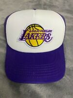 LOS ANGELES LAKERS NBA Official Logo Purple & White Trucker Snapback Hat Cap NEW