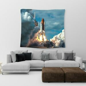 Large Wall Hanging Tapestry Space Launch Cotton Print Art Bedspread Throw Cover