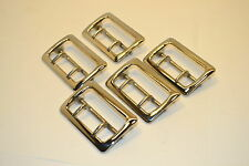 "5 NOS NORTH & JUDD US BRASS BELT BUCKLES Polished Nickle Anchor Mark 2-1/4"" K185"