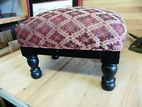 Vintage 1940's ottoman stool piano foot rest Mahogany pouf