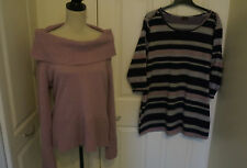 TWO LADIES JUMPERS , ANGORA BLEND- SIZE 18 & STRIPED SIZE 20