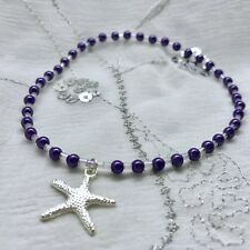 New Star Fish Charm Anklet ~ Purple ~ Stretch ~ Beach Seaside Theme, Ankle Chain