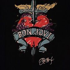 Bon Jovi Hard Rock Cafe San Juan Shirt 26 Medium Black Tee Valentines Day Heart