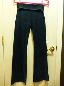 Hard Tail Roll down waist classic Yoga Pant,  ACID WASH> Blue/Black> M