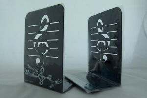 Music Themed Bookend - A Pair of Black Treble Clef Design Metal Book Stand (2...