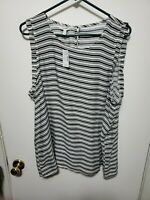 Maurices 24/7 Striped Dolman Sleeve Tee Size XL White & Black Casual Top NWT