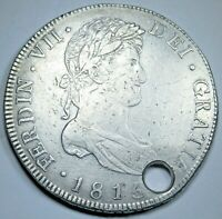 1815 Spanish Guatemala Silver 8 Reales 1800s Old Antique US Colonial Pirate Coin