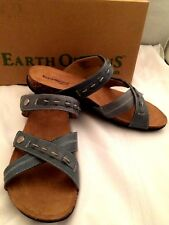 EARTH ORIGINS Tamra Blue Leather Adjustable Slip On Sandals Womens Sz 11 M