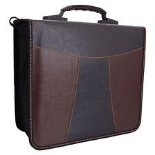 240 Disc Faux Leather Patchwork CD DVD Storage Bag Holder Case Black &Brown