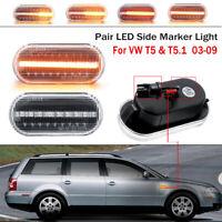 2x Dynamic LED Side Marker Light Repeater Indicator Clear Lens For VW Golf Bora