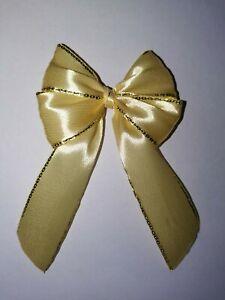 6x Luxury Pale Yellow Gold Trim Satin Ribbon Gift Bow Christmas Wedding Craft