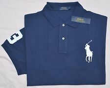 New 2XLT 2XL TALL POLO RALPH LAUREN Men's Big Pony shirt top Navy blue solid 2XT