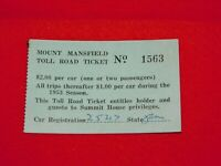 VINTAGE BUSINESS CARD MOUNT MANSFIELD TOLL ROAD TICKET