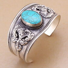 Vintage Old Tibet Silver Carved Dragon Light blue Turquoise stone Cuff Bracelet