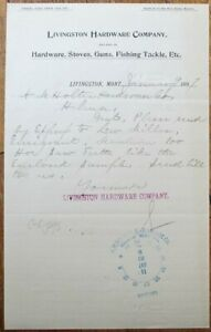 Livingston, MT 1897 Letterhead: Hardware Co., Stoves/Guns/Fishing Tackle-Montana