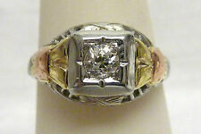 VINTAGE 30-40'S 18KT 3 TONE 10CTWT DIAMOND WOMAN RING  SZ 5.75+  2.1G I-1919