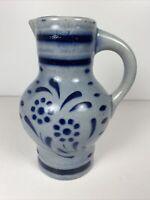 "Vintage Salt Glaze Cobalt Blue Stoneware 6.5"" Pitcher Marked 050 Daisy"