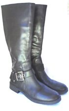 Nine West Fearn Black Leather Riding Boots with Ankle Buckle US Size 9