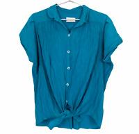 Jacqueline Eve Vintage Womens Teal Short Sleeve Button Up Blouse Size S