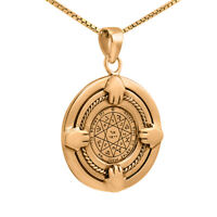 Guarding and Protection Seal King Solomon Pendant Amulet Silver 925 Gold-Plated