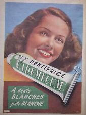 PUBLICITÉ DE PRESSE 1954 DENTIFRICE VADEMECUM DENTS BLANCHES - ADVERTISING