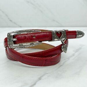 Brighton Red Vintage Skinny Embossed Engraved Heart Leather Belt Size Large L 32