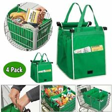 4Pcs Foldable Shopping Tote Bag Grocery Grab Fabric Carrier Clip-To-Cart Trolley