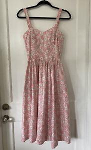 vintage pink floral Lanz sundress boned bodice W/pockets Size 5/6 Style 9129