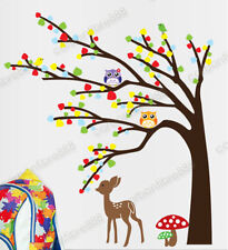 Owl Tree Deer Woodland Animal Wall Stickers Art Mural Decal Kids Nursery Decor