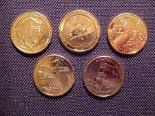 2015 24 kt Gold Plated Complete Set Of National Park Quarters - D Mint (5 Coins)